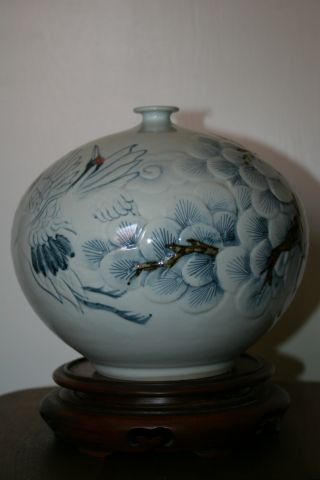 Japanese Designer Hand Made Porcelain Vase With Cranes photo