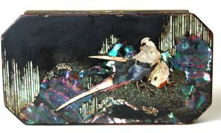 Japanese Lacquer On Metal Tobacco Box Mother Of Pearl Inlay Early 19th Cent photo