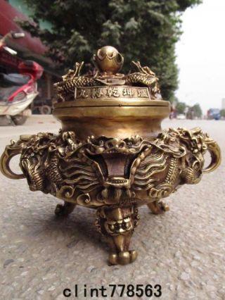 China Classic Brass Dragon Incense Burner220 photo