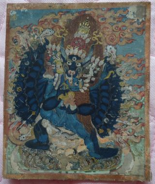 Mongolian Antique Buddhist Old Thangka 18 - 19 C (high Quality) photo