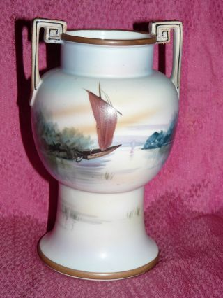 ~vintage~nippon~noritake~japanese~hand Painted~porcelain~handled~vase~signed~nr~ photo