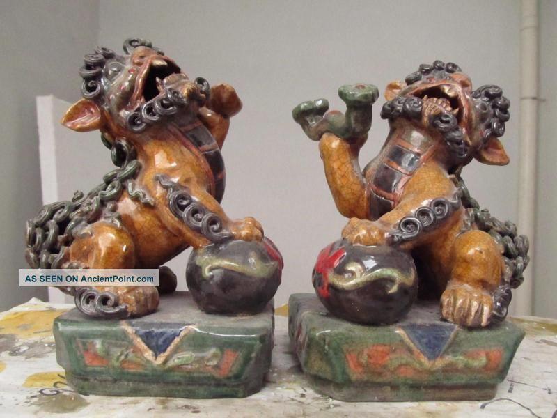 Hian Wucai Porcelain Money Ru Yi Foo Dog Lion Play Bead Reproductions photo