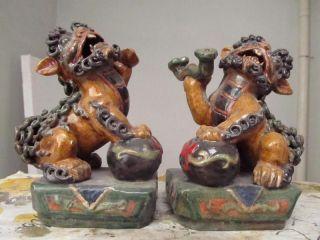 Hian Wucai Porcelain Money Ru Yi Foo Dog Lion Play Bead photo