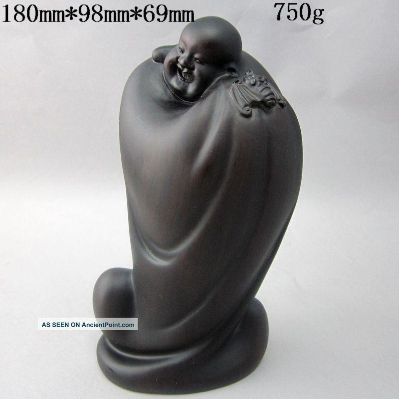 Chinese Black Sandalwood Wood Statue Laughing Buddha And Bat Nr Buddha photo