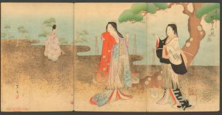 Shoudou - 1896 Japanese Woodblock Triptych Print photo