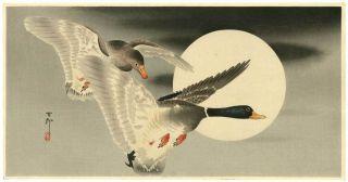 Koson Japanese Woodblock Print Mallards & Moon photo