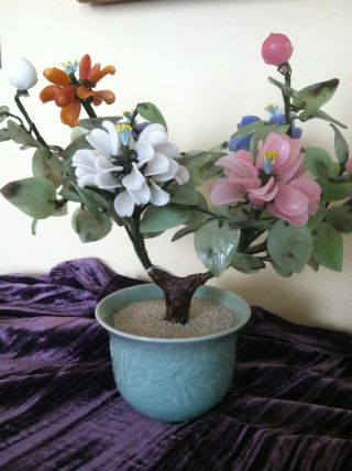 (faux?) Jade,  Agate,  Quartz,  Glass Potted Tree - With Flowers,  Japan,  20th Cent photo