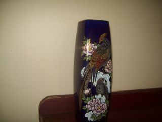 Vintage Japanese Cobalt Blue Square Vase - Mint photo