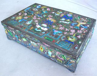 Antique Chinese Enameled Metal Box W/ High Relief Scholar ' S Objects (6.  7