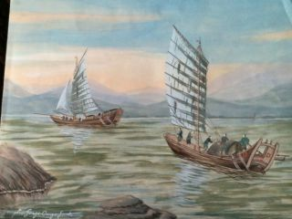 Old Master Japanese Watercolor Sail Boats On Seascape,  Signed photo
