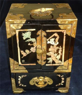 Vintage Chinese Black Lacquer Cabinet Mother Of Pearl Inlay Signiture Mark. photo