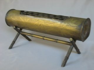 Antique Japanese Brass Bamboo Shaped Incense Burner W/ Stand - Collector ' S Item photo