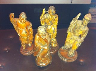 Asian Antique Wood Carving Statues Incredible Detail Collection Lot photo
