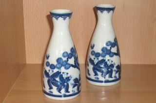Pair Of Japanese Blue & White Porcelain Vase Imari Meiji Signed photo