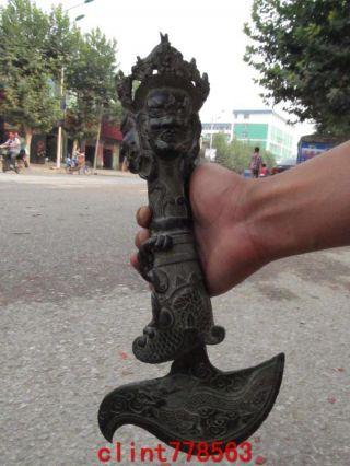 Tibet Buddhism Bronze Gilt Evil Spirits Vajrakila Hayagriva Buddha Phurpa Dagger photo