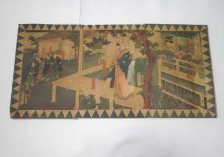 Japanese Woodblock Print Ukiyoe Samurais & Woman Picture 3 Pieces Sets photo