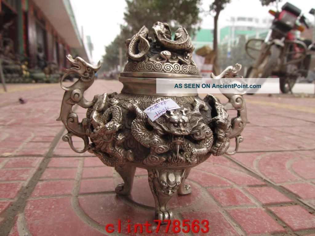 Chinese Silver Stand Classic Dragon Incense Burner Statues Reproductions photo