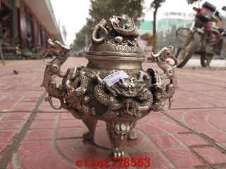 Chinese Silver Stand Classic Dragon Incense Burner Statues photo
