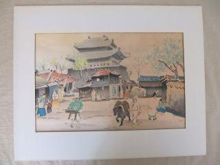Woodblock Print By Hiroshi Mamoru - Early Korean Village Scene photo