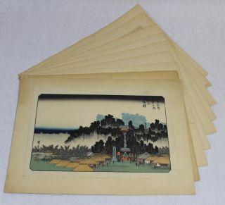 9 Antique Authentic Signed Japanese Woodblock Landscape Prints, photo