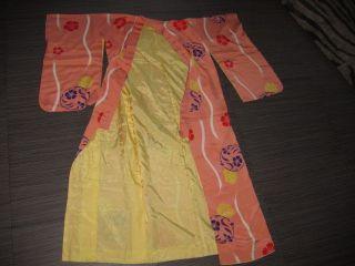 Vintage Asian Oriental Peach Yellow Colorful Floral Robe Kimono photo