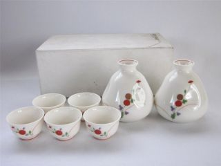 Japanese Arita Ware Sake Bottle Tokkuri & Cup By Koransha; Design/ 745 photo