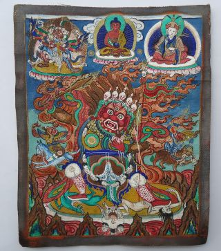 Mongolian Antique Buddhist Old Rare Thangka 18c - 19 C (high Quality) photo