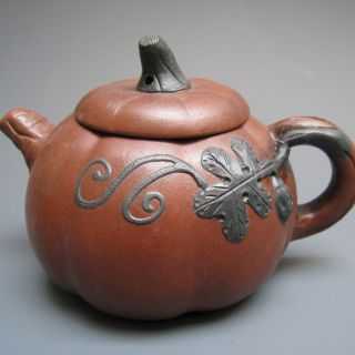 19th Century Chinese Yixing Teapot Pumpkin Carving Teapot Charm photo