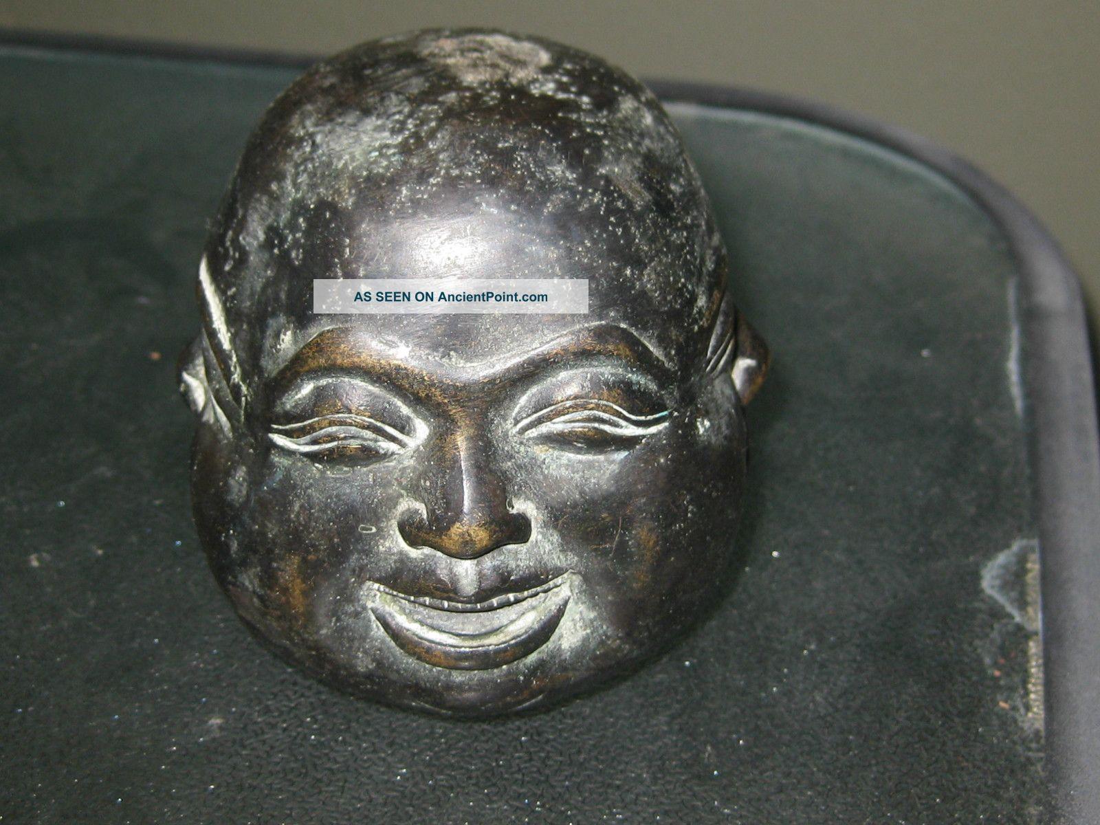 Antique Bronze Four Faces Of Buddha Statue Signed Buddha photo