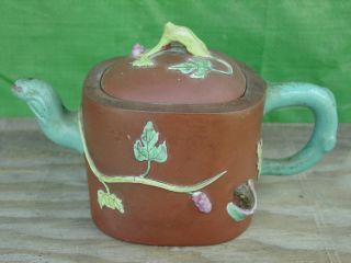 Chinese Export I - Hsing Yixing Grape Leaf And Squirrel Enameled Teapot Nr photo