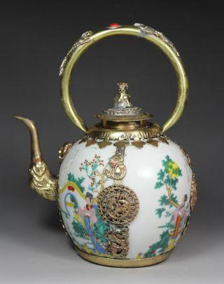 Chinese Handwork Painting Belle Phoenix Dragon Old Porcelain Tea Pot photo