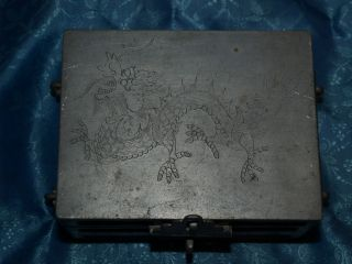 Antique Antique Chinese Pewter Box Dragon Design photo