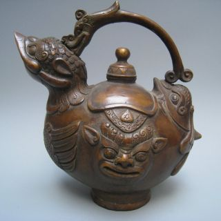 Mysterious 19th.  C.  Chinese Tibet The Qing Qianlong Bronzes Platypus Flagon Nr photo