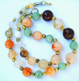 Antique Multicolored Jade Necklace,  19.  5 photo