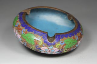 Chinese Handwork Painting Flower Old Cloisonne Ashtray photo