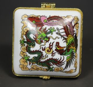 Asian Oriental Porcelain Wonderful Handwork Painting Dragon/ Phoenix Jewelry Box photo