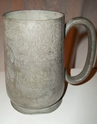 1800 ' S Kut Hing Pewter Swatow Dragon Etched Beer Mug W/ Stamped Characters photo