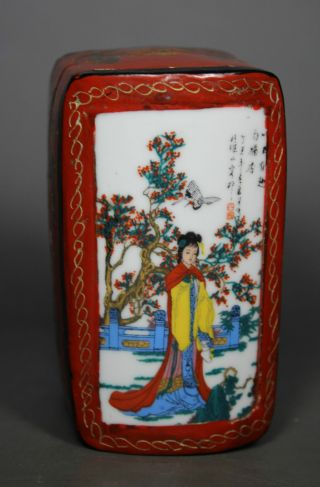 Chinese Old Lacquer Handwork Painting Belle Jewel Box photo