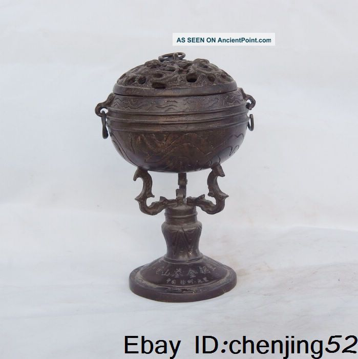 The Old Chinese Civil Acquired Bronze Incense Burner W Nr Buddha photo
