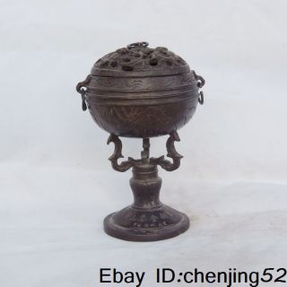 The Old Chinese Civil Acquired Bronze Incense Burner W Nr photo