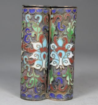 Chinese Handwork Painting Flower Old Cloisonne Snuff Bottle photo