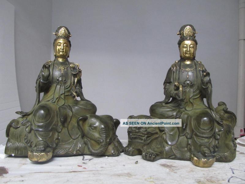 China Folk Bronze Gilt Manjusri Samantabhadra Bodhisattva Pair 8668 Reproductions photo
