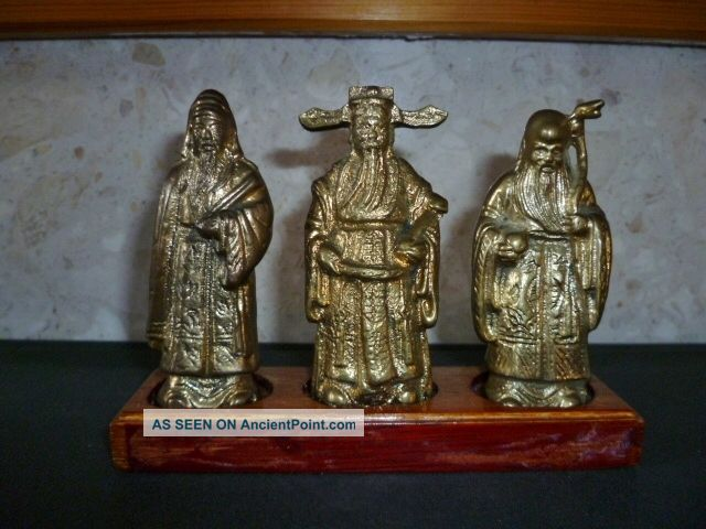 Vintage Set Three Chinese Immortals - Solid Gilted Brass On Wooden Stand Buddha photo