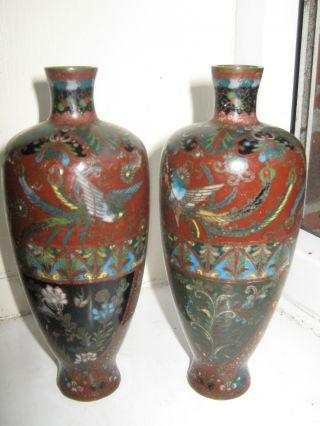 Pair Chinese Cloisonne Hexagonal Shape Baluster Vases Circa 19th Century photo