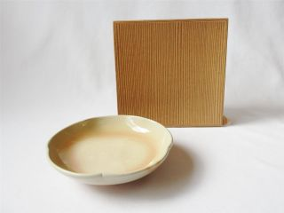 Japanese Hagi Ware Plate By 12th Tobei Tahara; Famous Potter/ Beautiful/ 890 photo