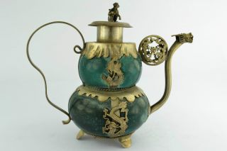 China Collectibles Old Handwork Jade Dragon Tea Pot photo