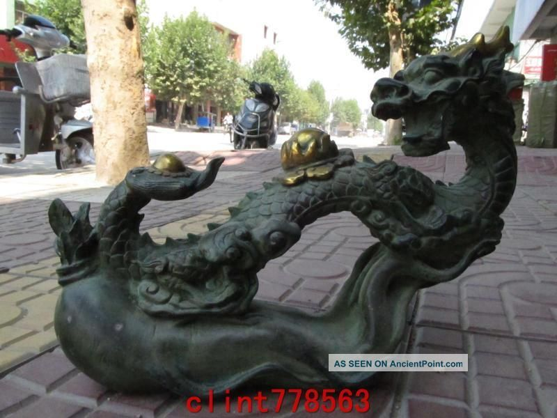 China Royal Classic Old Bronze Ginseng Wishful Dragon Statues3 Reproductions photo