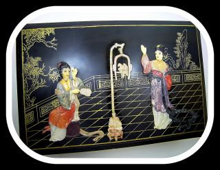 Antique Chinese Lacquer Carved Mother Of Pearl Box photo