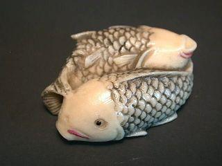 Japanese Netsuke - Twin Big Fat Koi Carp Fish Entwined, photo