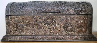 Stunning Signed Antique Japanese Plated Pewter Or Bronze Chrysanthemum Casket photo